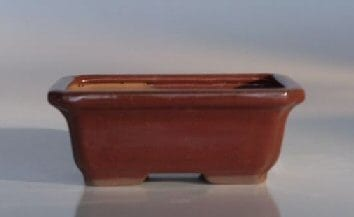 Red Ceramic Bonsai Pot - Rectangle Indented Corners 6.25 x 4.5 x 2.25