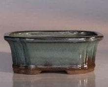 Green Ceramic Bonsai Pot - Rectangle Indented Corners 6 x 4.5 x 2.25