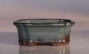 Green Ceramic Bonsai Pot - Rectangle Indented Corners 6 x 4.5 x 2.25