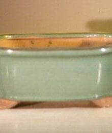 Blue Ceramic Bonsai Pot - Rectangle 8 x 6.5 x 3