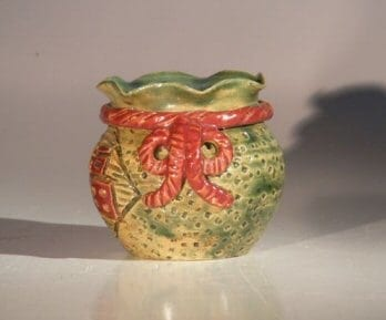 Green Glazed Ceramic Holiday Pot - Round 3.5x3.5