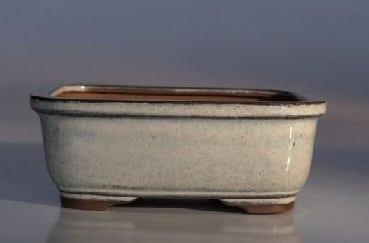 White Ceramic Bonsai Pot - Rectangle 6.5 x 5.25 x 2.0