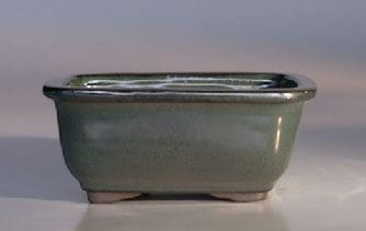 Green Ceramic Bonsai Pot - Rectangle 6 x 5 x 3