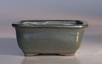 Green Ceramic Bonsai Pot - Rectangle 6 x 5 x 3