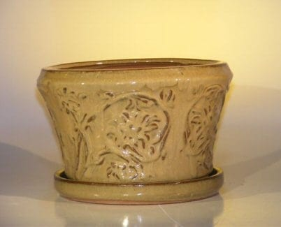 Mustard Color Ceramic Bonsai Pot - Round Attached Matching Tray 9 x 5.5