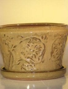 Mustard Color Ceramic Bonsai Pot With Matching Tray Round 11.25 x 7.5