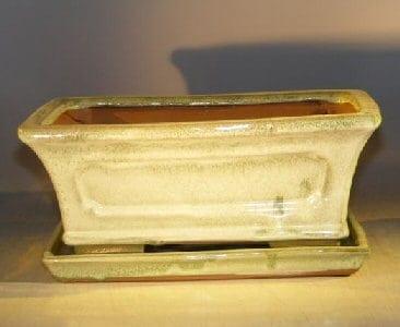 Melon Green Ceramic Bonsai Pot - Rectangle Attached Humidity/Drip tray 10.75 x 8.5 x 4.125