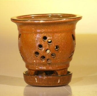 Aztec Orange Ceramic Orchid Pot - Round 5.0 x 5.125 With Attached Tray Sized to fit 4.0 Plastic Growing Pot