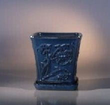 Blue Ceramic Bonsai Pot - Cascade Attached Matching Tray 7.5 x 7.5