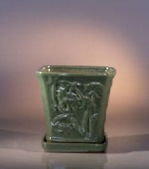 Green Ceramic Bonsai Pot - Cascade Attached Matching Tray 7.5 x 7.5