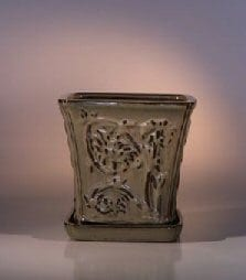 Mustard Color Ceramic Bonsai Pot - Cascade Attached Matching Tray 7.5 x 7.5