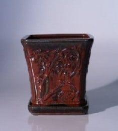 Parisian Red Ceramic Bonsai Pot - Cascade Attached Matching Tray 7.5 x 7.5