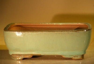 Green Ceramic Bonsai Pot #2 - Rectangle 7.0 x 5.5 x 2.4