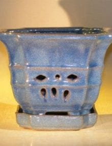 Blue Orchid Pot with Attached Tray 7.0 x 6.5 Tall