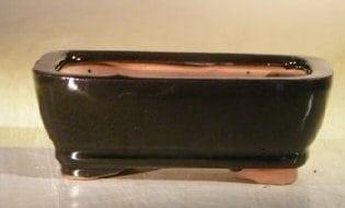 Black Ceramic Bonsai Pot - Rectangle 5.0 x 3.5 x 2.0