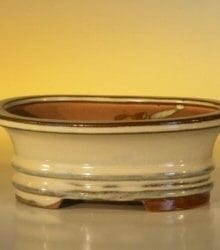Beige Ceramic Bonsai Pot - Oval 6.125 x 5.0 x 2.125