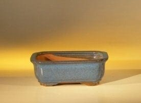 Blue Ceramic Bonsai Pot - Rectangle 6.125 x 5.0 x 2.125