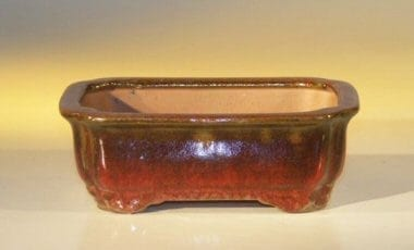 Parisian Red Ceramic Bonsai Pot #2 - Rectangle 6.125 x 5.0 x 2.125
