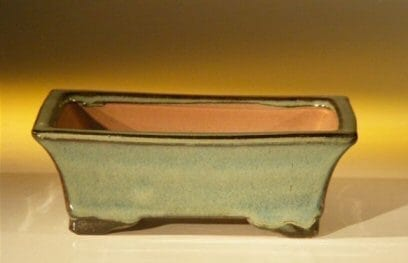 Blue/Green Ceramic Bonsai Pot - Rectangle 6.125 x 5.0 x 2.125