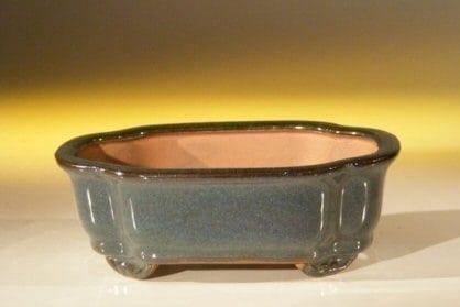 Dark Green Ceramic Bonsai Pot #2 - Rectangle 6.125 x 5.0 x 2.125