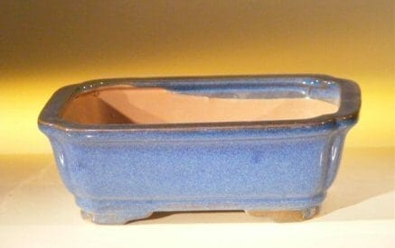 Blue Ceramic Bonsai Pot - Rectangle 7.0 x 5.5 x 2.4