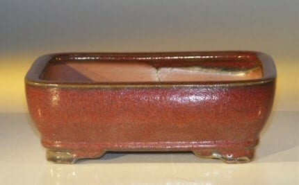 Parisian Red Ceramic Bonsai Pot - Rectangle 7.0 x 5.5 x 2.375