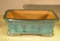 Green Ceramic Bonsai Pot - Rectangle 7.5 x 5.5 x 2.75