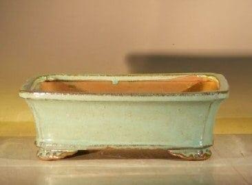 Light Green Ceramic Bonsai Pot - Rectangle 8 x 6 x 2.5