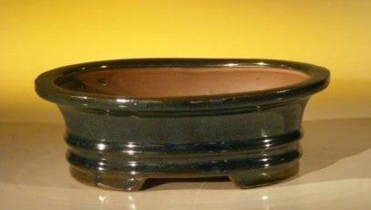 Dark Green Ceramic Bonsai Pot - Oval 8.0 x 6.5 x 3.0