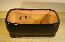 Black Ceramic Bonsai Pot - Rectangle 8.0 x 6.25 x 2.5