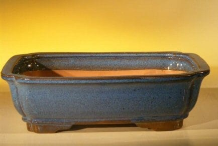 Blue Ceramic Bonsai Pot - Rectangle 10 x 8 x 3.125