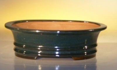 Dark Green Ceramic Bonsai Pot - Oval 10 x 8 x 3.125