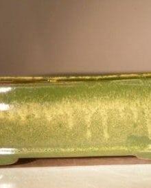 Green Drip Ceramic Bonsai Pot - Rectangle 10 x 8 x 3 Tall