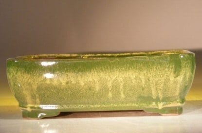 Green Drip Ceramic Bonsai Pot - Rectangle 10 x 8 x 3 Tall