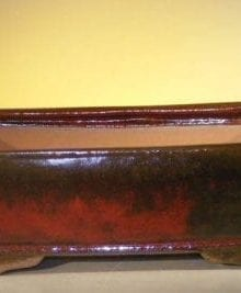 Parisian Red Ceramic Bonsai Pot - Rectangle 12.0 x 9.5 x 3.375