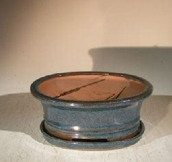 Blue/Green Ceramic Bonsai Pot - Oval Professional Series with Attached Humidity/Drip tray 8.5 x 6.5 x 3.5