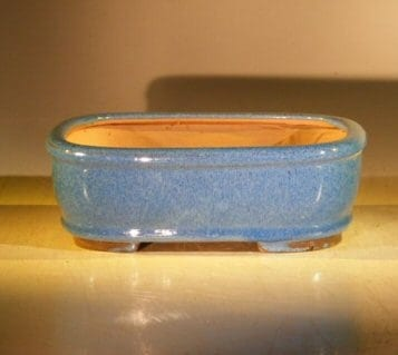 Blue Ceramic Bonsai Pot - Rectangle 8 x 6 x 2.75