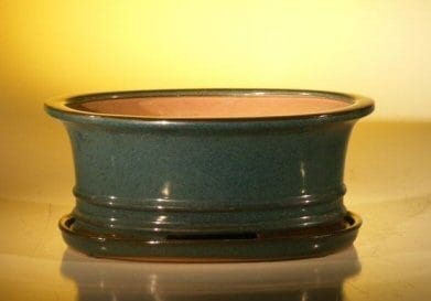 Dark Green Ceramic Bonsai Pot - Oval Professional Series with Attached Humidity/Drip Tray 10.75 x 8.5 x 4.125