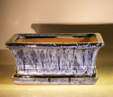 Blue Ceramic Bonsai Pot - Rectangle Professional Series with Attached Humidity/Drip Tray 10 x 8 x 4.5