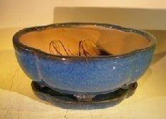 Blue Ceramic Bonsai Pot #2 - Oval Lotus Shaped Professional Series 10.5 x 9.0 x 5.0