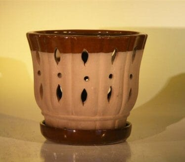 Ceramic Orchid Pot #2 - 7.625 x 6.125 Round With Matching Attached Saucer