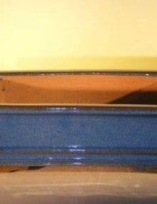 Blue Ceramic Bonsai Pot #1 - Rectangle 14.0 x 11.5 x 4.0
