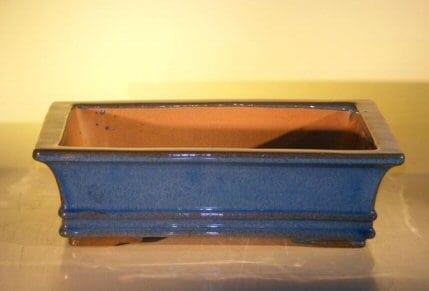 Blue Ceramic Bonsai Pot #1 - Rectangle 14.0 x 11.5 x 4.0