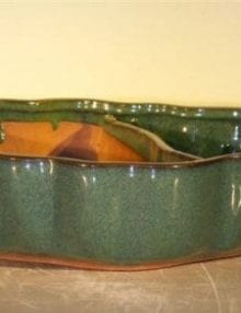 Ceramic Bonsai Pot - Land/Water with Scalloped Edges 9.5 x 7.5 x 2.25