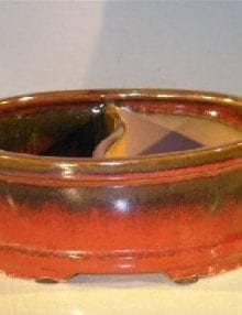 Parisian Red Ceramic Bonsai Pot - Oval Land/Water Divider 12 x 9.5 x 4