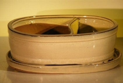 Beige Ceramic Bonsai Pot - Oval Land/Water with Attached Matching Tray 8.25 x 6.0 x 3.5