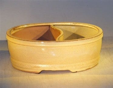 Beige Ceramic Bonsai Pot - Oval Land/Water Divider 8.0 x 6.5 x 3.25