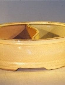 Beige Ceramic Bonsai Pot Land/Water Divider 10 x 7.5 x 4