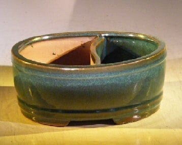 Blue/Green Ceramic Bonsai Pot - Oval Land/Water Divider 12 x 9.5 x 4