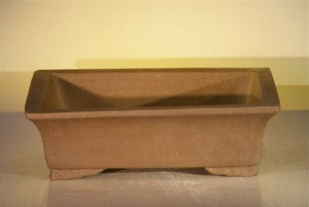 Tan Unglazed Ceramic Bonsai Pot - Rectangle 12 x 9.625 x 3.5